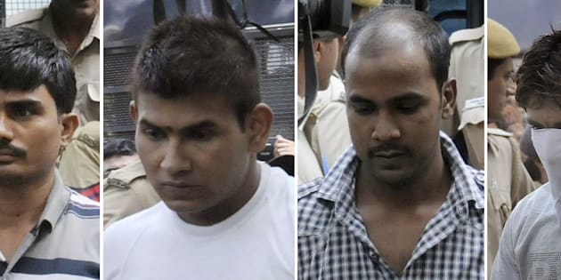 This combination of images created on September 24, 2013, shows convicted Indian prisoners (L/R): Akshay Thakur, Vinay Sharma, Mukesh Singh, Pawan Gupta as they arrive for an appearance at The High Court in New Delhi on September 24, 2013.