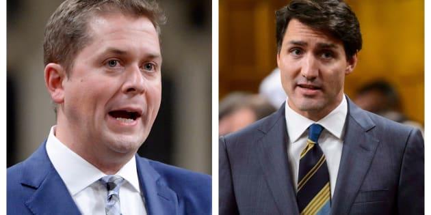 Andrew Scheer et Justin Trudeau.