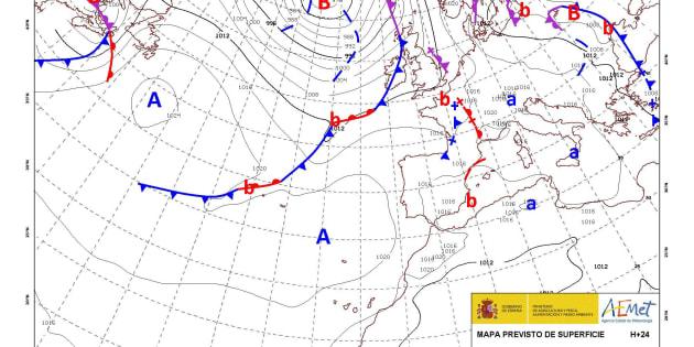Mapa de isobaras facilitado por la Agencia Estatal de Meteorología (AEMET) previsto para el 04/09/2017.
