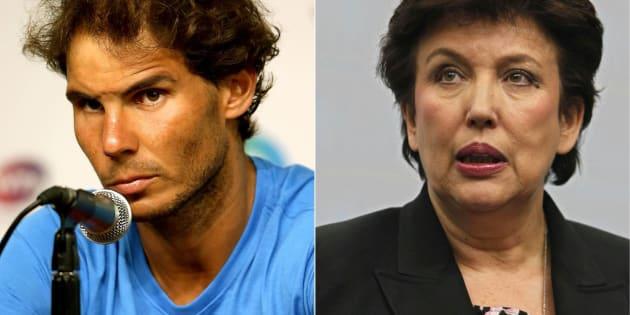 Rafael Nadal y Roselyne Bachelot.