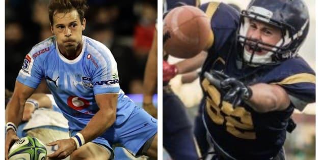 イメージ写真。ラグビー(左)とアメリカンフットボール
