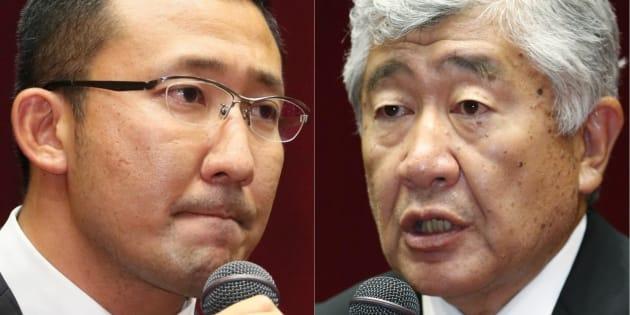 日本大アメリカンフットボール部の内田正人・前監督(右)と井上奨・前コーチ