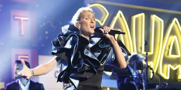 Céline Dion on 'Jimmy Kimmel Live!' on Friday, April 5 belting it out.