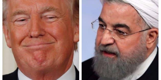 Combo con las imágenes del presidente de EEUU, Donald Trump, (izq) y de su homólogo iraní, Hassan Rouhani, (der).