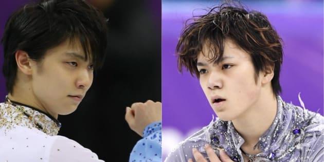 フィギュアスケート男子ショートプログラムで1位になった羽生結弦選手(左)と3位の宇野昌磨選手