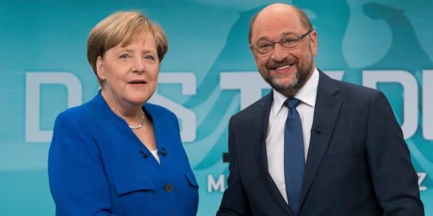 Imagen de archivo de Merkel y Schulz durante el debate del pasado domingo.