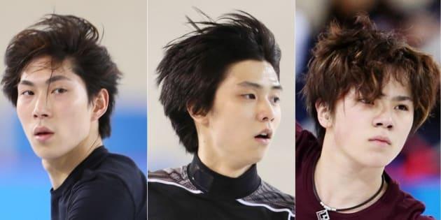 16日のフィギュアスケート男子ショートプログラムに出場予定の羽生結弦(中央)、宇野昌磨(右)、田中刑事の3選手