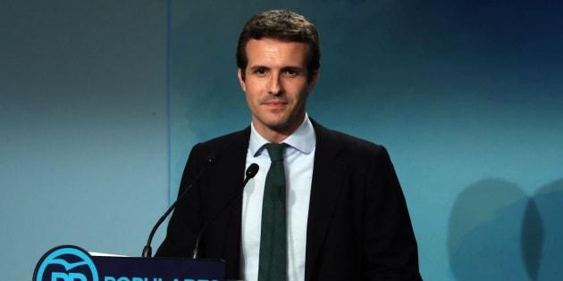 El vicesecretario del PP, Pablo Casado, durante la rueda de prensa en la sede del PP.