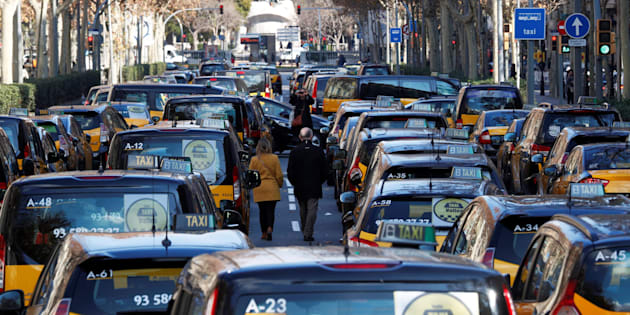 Taxis en huelga en Barcelona.