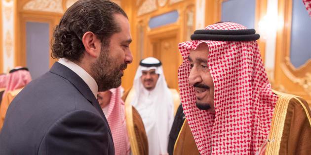 Le premier ministre démissionnaire Saad Hariri avec le roi d'Arabie Saoudite Salmane ben Abdelaziz Al Saoud à Ryad, le 1 novembre.