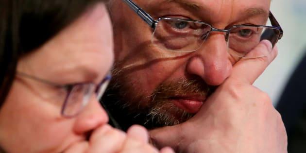 Imagen de archivo de los líderes socialdemócratas alemanes Martin Schulz y Andrea Nahles.