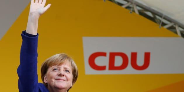 La canciller alemana, Angela Merkel, durante uno de sus actos de campaña.
