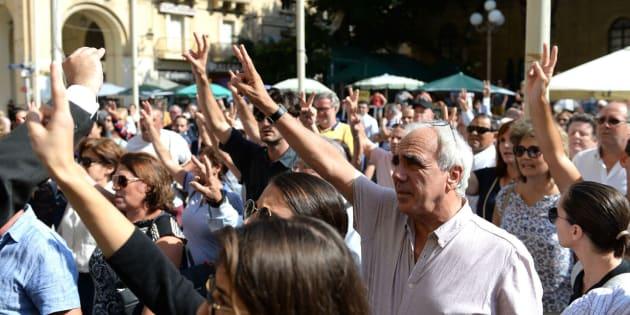Manifestación en protesta por el asesinato de la periodista Daphne Caruana Galizia.