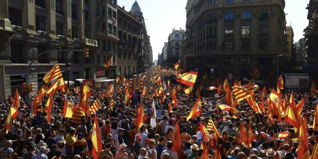 Una manifestación convocada por Societat Civil Catalana, en una imagen de archivo.
