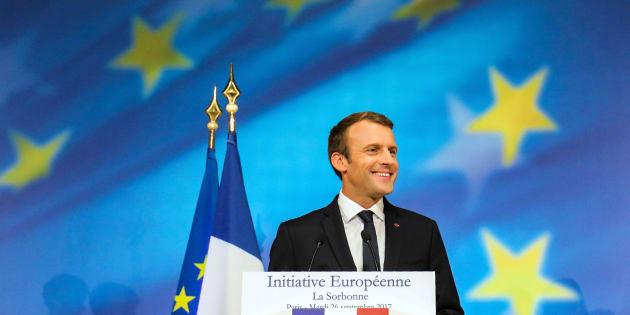 El presidente francés durante su discurso sobre la UE.