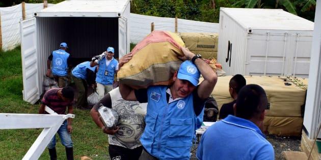 Integrantes de ONU sacan bultos con armas de contenedores en Monteredondo, departamento de Cauca (Colombia).