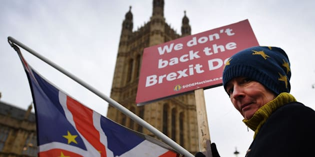Una activista pro-UE se manifiesta a las puertas del Parlamento británico.