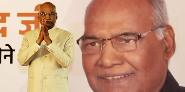 El nuevo presidente indio, Ram Nath Kovind, celebra su victoria en las elecciones.