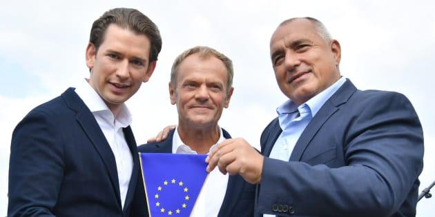 El canciller austríaco Sebastian Kurz (i), el presidente del Consejo Europeo, Donald Tusk (centro), y el primer ministro búlgaro, Boyko Borisov.