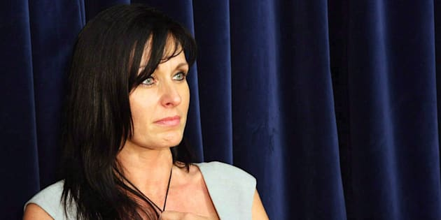 Tabitha Speer, widow of U.S. soldier Christopher Speer, speaks to reporters on the sentencing of Omar Khadr at his military commission at Guantanamo Bay, Cuba on Oct. 31, 2010.