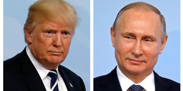 El presidente de EEUU, Donald Trump (izq) y su homólogo ruso, Vladimir Putin (der) en un combo de imágenes.