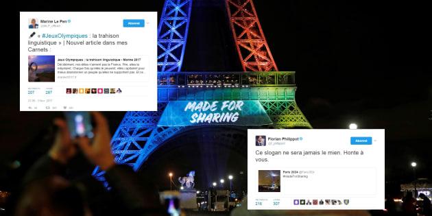 """Le Front national a un problème avec le slogan de Paris pour les Jeux Olympiques 2024, """"Made for sharing""""."""