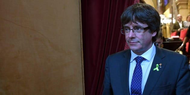 Carles Puigdemont en el Parlament.