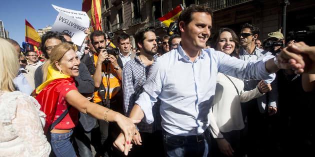 El líder de Ciudadanos, Albert Rivera, en la marcha antiindependentista.