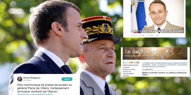 """La brouille entre Macron et le général De Villiers, du pain bénit pour la """"patriosphère""""."""