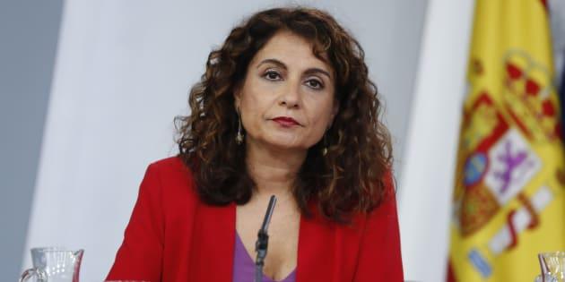 María Jesús Montero, ministra de Hacienda, en la rueda de prensa posterior al Consejo de Ministros en Moncloa.