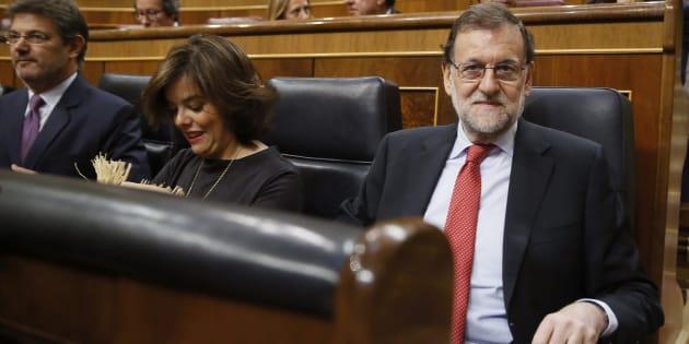 El presidente del Ejecutivo, Mariano Rajoy, al inicio de la sesión de control al Gobierno.