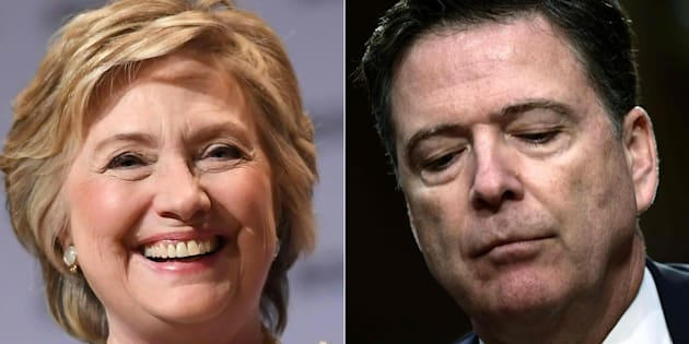 Combo con la excandidata demócrata Hillary Clinton (izq) y el exdirector del FBI James Comey.