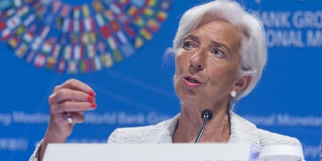 La directora gerente del Fondo Monetario Internacional (FMI), Christine Lagarde, durante una rueda de prensa en el marco de la asamblea de primavera del FMI y el Banco Mundial (BM)