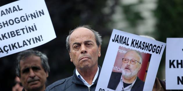 Manifestación por la búsqueda del periodista Jamal Khashoggi.