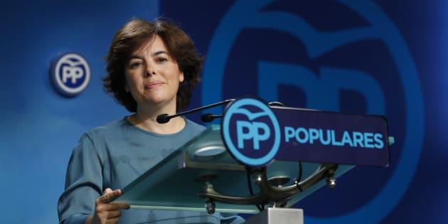 Soraya Sáenz de Santamaría comparece en la sede del PP tras conocer su victoria en las primarias.