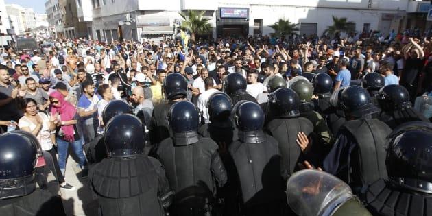 Protesta en solidaridad con la región del Rif en Al Hoceima, al norte de Marruecos