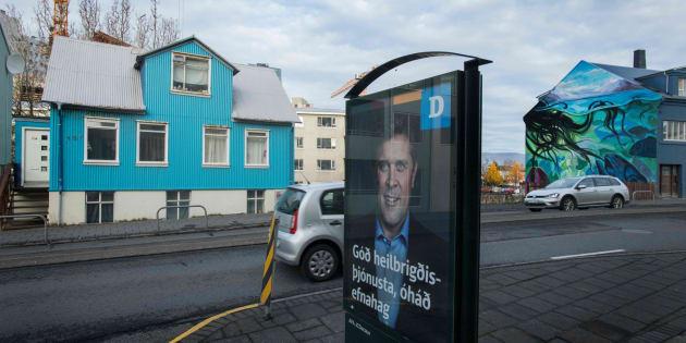 Un cartel electoral en las calles de Islandia.