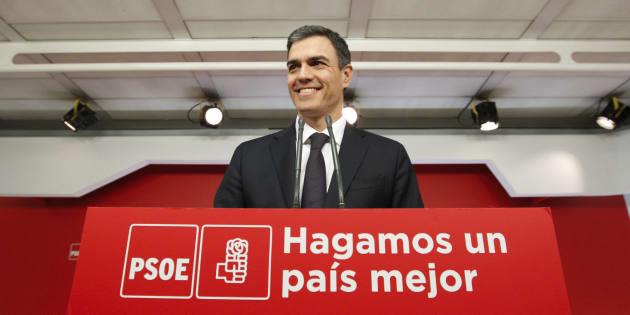 El secretario general del PSOE, Pedro Sánchez, en la sede de Ferraz.