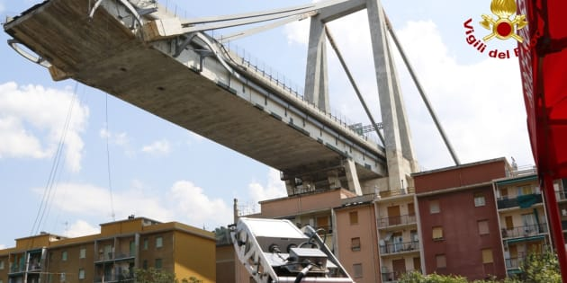 In this photo taken on Saturday, Aug. 18, 2018, a GPR (ground penetrating radar) installed by the firefighters checks the collapsed Morandi highway bridge, in Genoa, Italy. Saturday was declared a national day of mourning in Italy including a state funeral at the industrial port city's fair grounds for those who plunged to their deaths as the 45-meter (150-foot) tall Morandi Bridge gave way Tuesday. (Vigili del Fuoco via AP)