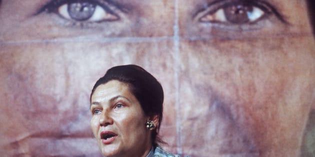 1 de mayo de 1979. La entonces ministra francesa de Salud y candidata a las elecciones europeas, Simone Veil, da un discurso en París durante la campaña electoral.