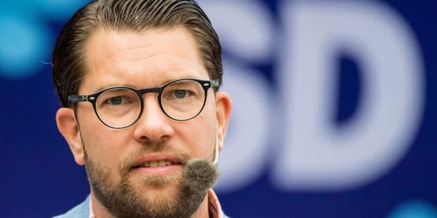 El líder del SD, Jimmie Åkesson, durante un acto de campaña.