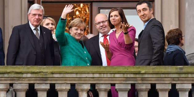 La canciller alemana Angela Merkel tras la primera reunión.