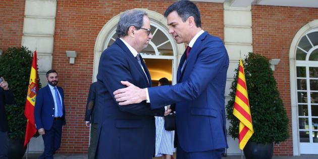 Quim Torra y Pedro Sánchez, en el encuentro que mantuvieron en La Moncloa en julio.