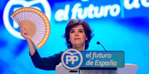 Soraya Sánez de Santamaría, el pasado mes de julio, en un acto durante las primarias del PP.