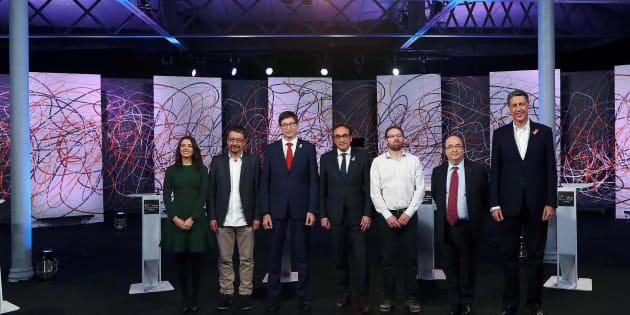 Debate electoral organizado por 'La Sexta', con los candidatos Josep Rull (JxCat), Carles Mundó (ERC), Inés Arrimadas (Ciudadanos), Miquel Iceta (PSC), Xavier Domènech (Catalunya en Comú-Podem), Xavier García Albiol (PPC) y Vidal Aragonés (CUP), esta noche en Barcelona.