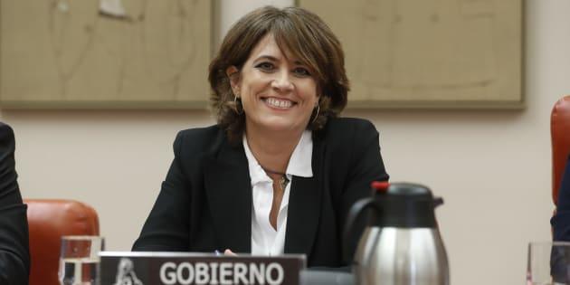 La ministra de Justicia, Dolores Delgado, comparece en la comisión de Justicia del Congreso de los Diputados tras la publicación de grabaciones de conversaciones con el excomisario de policía José Manuel Villarejo.