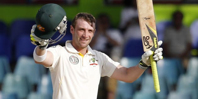 Hughes after making a century against Sri Lanka in 2011.