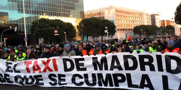 Huelga de taxis en Madrid.