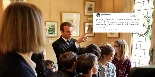 Emmanuel Macron au Château de Monte-Cristo au Port-Marly le 16 septembre, à l'occasion des Journées du Patrimoine.