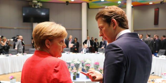 La canciller alemana, Angela Merkel, y su homólogo austriaco, Sebastian Kurtz.